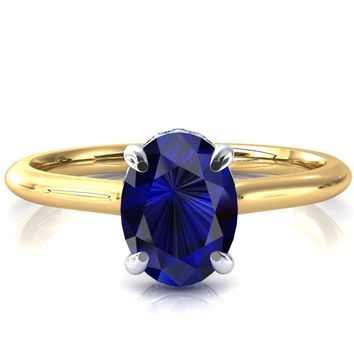 Secret Oval Blue Sapphire 4 Prong Floating Halo Engagement Ring