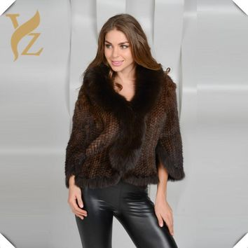 New Luxury 100% Knitted Mink Coat With Fox Fur Collar Fur Coart Nature Fur For Women Fashion Poncho Cape Fit Elegent Lady Dress