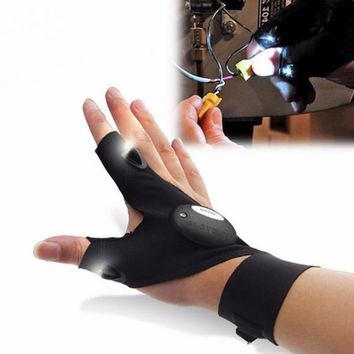 Night Fishing Glove with LED Light Rescue Tools Gear Fingerless Home Repair Gloves men half finger Flashlights Accessories 2019