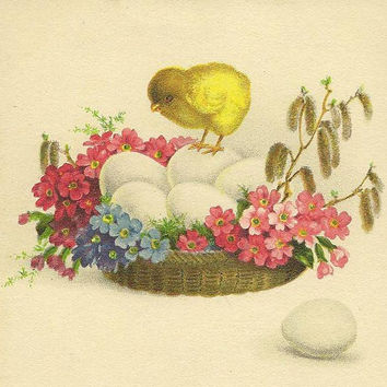 Yellow chick with eggs in a flower basket Vintage Easter Postcard