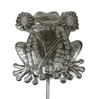 28-inch Metal Garden Stake With Frog  - Croix des Bouquets (O)