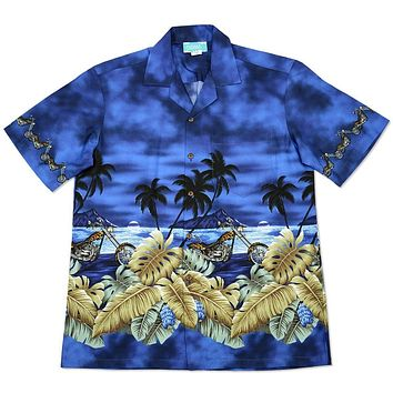 motorcycle blue hawaiian border shirt