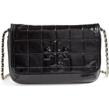 Tory Burch Marion Quilted Patent Leather Crossbody in Black