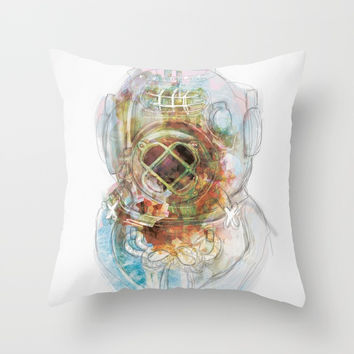 Deep Diver Suit Throw Pillow by Marie-Pier Cadorette