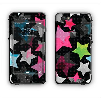The Neon Highlighted Polka Stars On Black Apple iPhone 6 LifeProof Nuud Case Skin Set