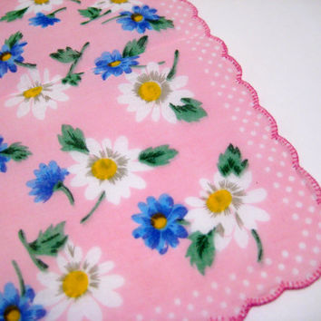 Vintage NEW Handkerchief, Pink Hanky With White & Blue Daisy's Scallop Edged Flower Hankie