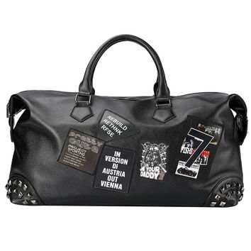 Personality Large Size Cool Rivet Leather Mens Travel Bag Fashion Rolling Travel Bag For Man Famous Brand Duffel Bag