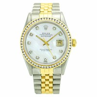 Rolex Datejust 16013 Steel 18k Gold Watch with MOP Dial Diamond Bezel