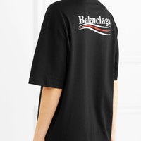 Balenciaga Front Small Logo Back Big Logo Rainbow Stripe Women Men Tee Shirt B-KWKWM Black