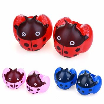 1Pair Children Arm Float Boys Girls Swimming Ring Baby Inflatable Swim Training Equipments Inflatable Ladybug Cartoon Arm Float