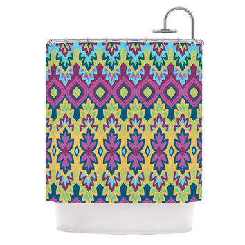 "Amanda Lane ""Boho Chic"" Purple Yellow Shower Curtain"