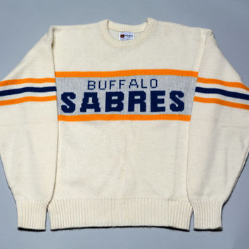 Vintage 80s Cliff Engle Buffalo Sabres Hockey Sweater - Retro Eighties NHL Throwback Sports Team Apparel
