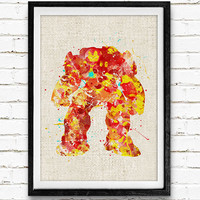 Iron Man Hulkbuster Watercolor Art Poster Print, Marvel Superhero, Wall Art, Home Decor, Boy's Gift, Not Framed, Buy 2 Get 1 Free!