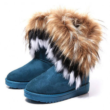 Fashion Fox Fur Warm Autumn Winter Wedges Snow Women Boots Shoes GenuineI Mitation Lady Short Boots Casual Long Snow Shoes