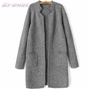 cardigan women,autumn fashion stand collar female cardigan,long open stitching,korean style casual knitted cardigan,D2026