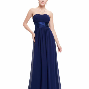 Prom Dresses Ever Pretty EP09955 Strapless Ruched Bust Blue Red Black Chiffon Long vestidos Evening Dresses