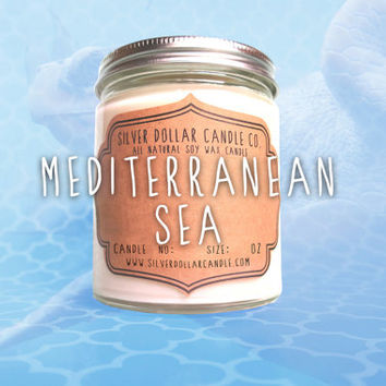 Mediterranean Sea Candle - Scented Candle - 8oz - Soy Candle - Scented Candles - Candles, Candle - Gift for Her, Handmade Candle, soy wax