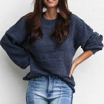 Cuddle Up Denim Chenille Stripe Sweater