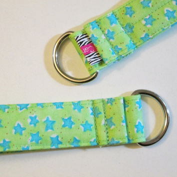 Women's Fabric Key Chain, FOB, Key Wristlet, Key Lanyard, Keychain, Keyring, Key FOB, Bright Green with Blue Stars