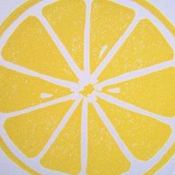 PRINT lemon fruit BRIGHT YELLOW LINOCUT citrus by thebigharumph