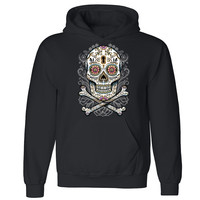 Zexpa Apparel™ Floral Skull Unisex Hoodie Liquid Blue Day Of Dead Muertos Hooded Sweatshirt