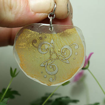 Rose Petal Pendant Music notes knot work Peach Orange flower petal