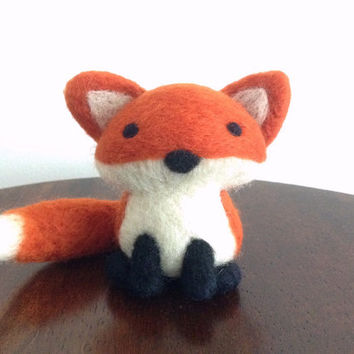 Needle Felted Fox, Needle Felted Animal, Wool Felt Animal, Fox Plush, Fox Art, Fox Decor, Woodland Animal, Fox Ornament, Fox Soft Sculpture