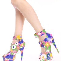 Pink Floral Printed Peep Toe High Heels Faux Leather
