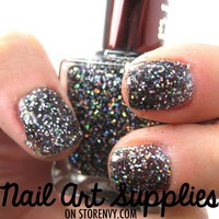 Dark Night Sky - Black and Silver Glitter Shimmer Nail Polish from nailartsupplies
