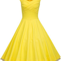 Yellow Vintage Cap Sleeve A-Line Maxi Dress
