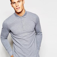Esprit | Esprit Long Sleeve Polo Shirt in Light Gray at ASOS