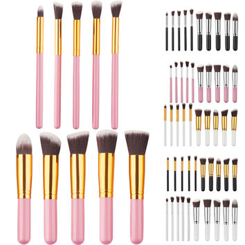 10pcs long and short Professional Cosmetic Makeup Brush Set round flat angled tapered brush kits Eyeshadow Blush Brushes Tools