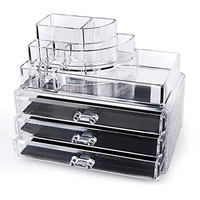 "Home-it Clear acrylic makeup organizer cosmetic organizer and Large 3 Drawer Jewerly Chest or makeup storage ideas Case Lipstick Liner Brush Holder make up boxes Organizer measures (10""x6""x7.7"")"