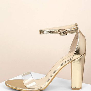Clear Band Metallic Open Toe Chunky Heel Sandals
