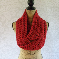 Christmas In July Sale Ready To Ship Infinity Scarf Large Dark Red Cranberry Women's Accessory Infinity Scarf