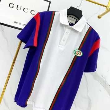 GUCCI New fashion bust side embroidery letter contrast color couple lapel top t-shirt