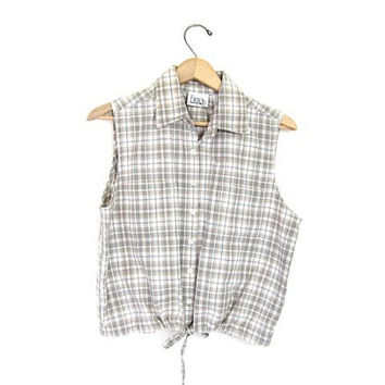 Vintage cropped tank top. Plaid Sleeveless button up shirt. Preppy Shirt. Drawstring. Sporty. Small Medium. Womens Shirt. Cotton. Prep.