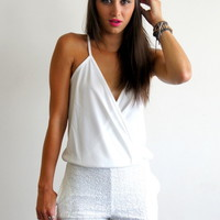 White Romper with Draped Top and Sequin Shorts