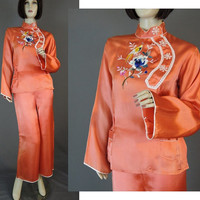 Vintage 1930s Oriental Embroidered Orange Satin Lounge Pajamas - fits 38 inch bust, 24 to 29 inch waist