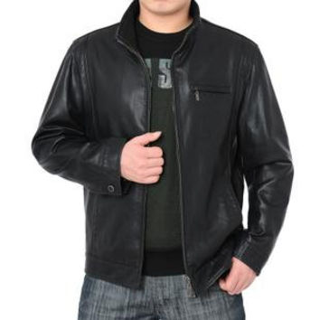 handmade men black leather jacket, with front quality zipper, mens leather jacket, men biker leather jacket handmade vintage jacket