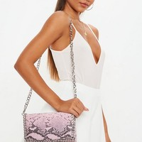 Missguided - Pink Snakeskin Croc Chain Trim Cross Body Bag