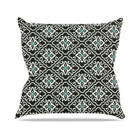 "Heidi Jennings ""Black Blue Geometric"" White Throw Pillow, 16"" x 16"" - Outlet Item"