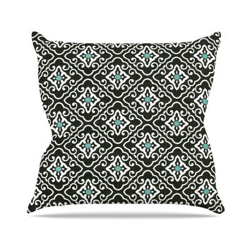 "Heidi Jennings ""Black Blue Geometric"" White Outdoor Throw Pillow"
