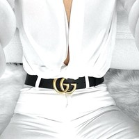 GUCCI Classic Popular Women Men GG Leather Belt