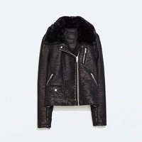 Zara Black Faux Leather Jacket With Detachable Fur Collar