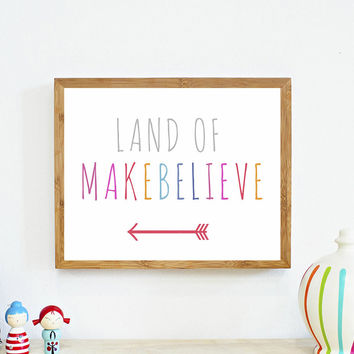 Land Of Makebelieve 11x14, Canvas or Print, Inspirational, Playroom Decor