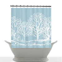 Artistic Shower Curtain - Wedgewood Blue - Minimalist blue and white landscape art, decor, bathroom
