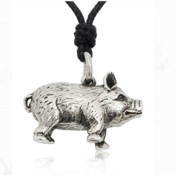 Smiling Pig 92.5 Sterling Silver Charm Necklace Pendant Jewelry With Cotton Cord