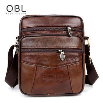 QBL Brand Genuine Leather Messenger Bag