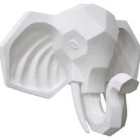Elephant Head Wall Decor, White, Antlers, Horns, Taxidermy & Faux-Taxidermy